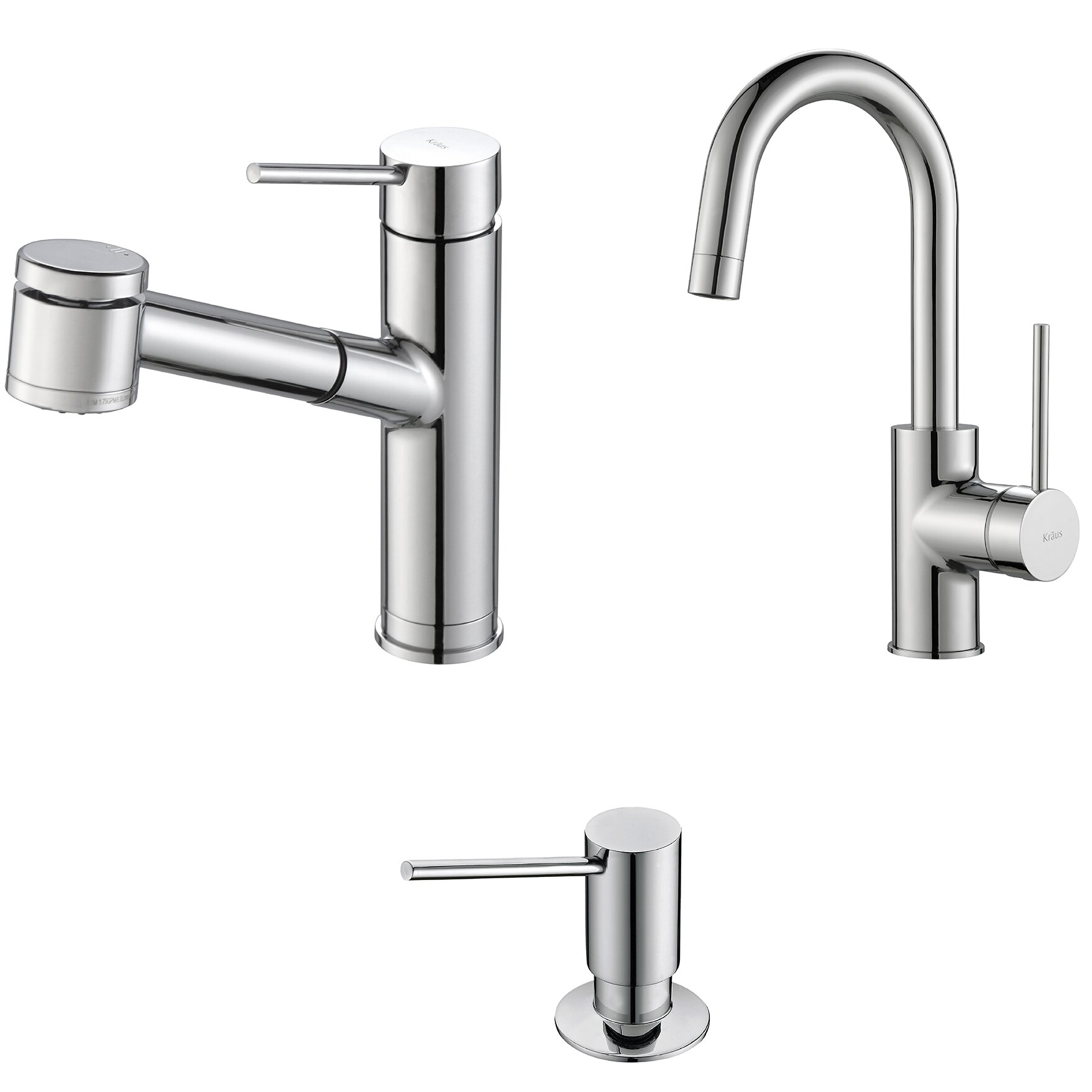 Kraus oletto pull out kitchen faucet with bar prep faucet for Faucet soap dispenser placement