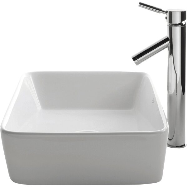 Kraus Ceramic Rectangular Vessel Bathroom Sink & Reviews Wayfair