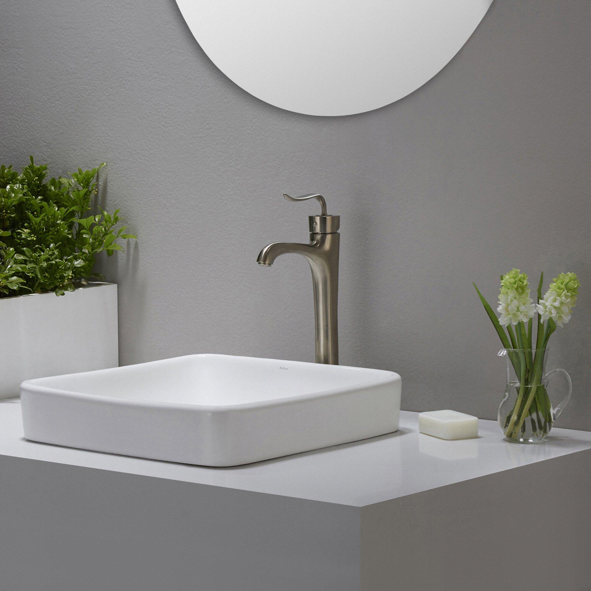 Kraus Elavo Ceramic Square Semi Recessed Bathroom Sink With Overflow Reviews Wayfair