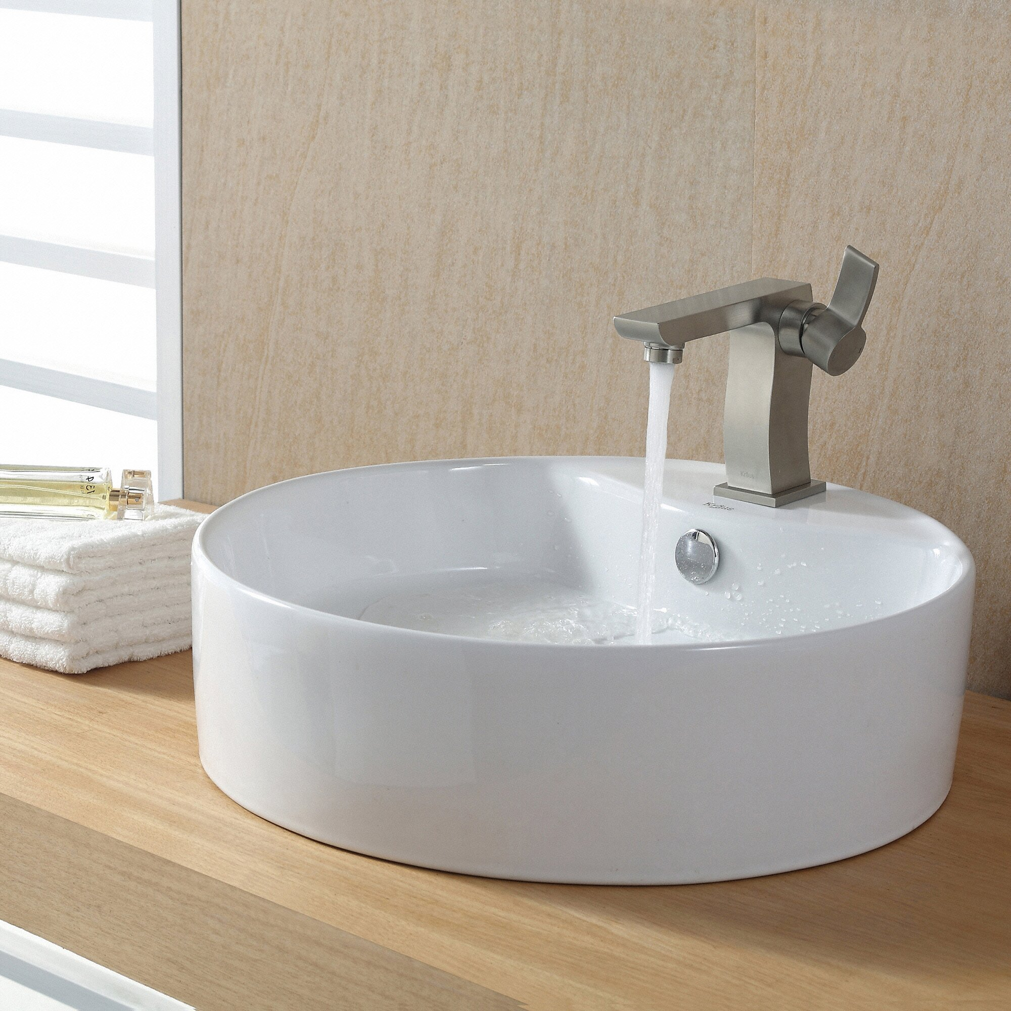 kraus ceramic round sink reviews wayfair. Black Bedroom Furniture Sets. Home Design Ideas