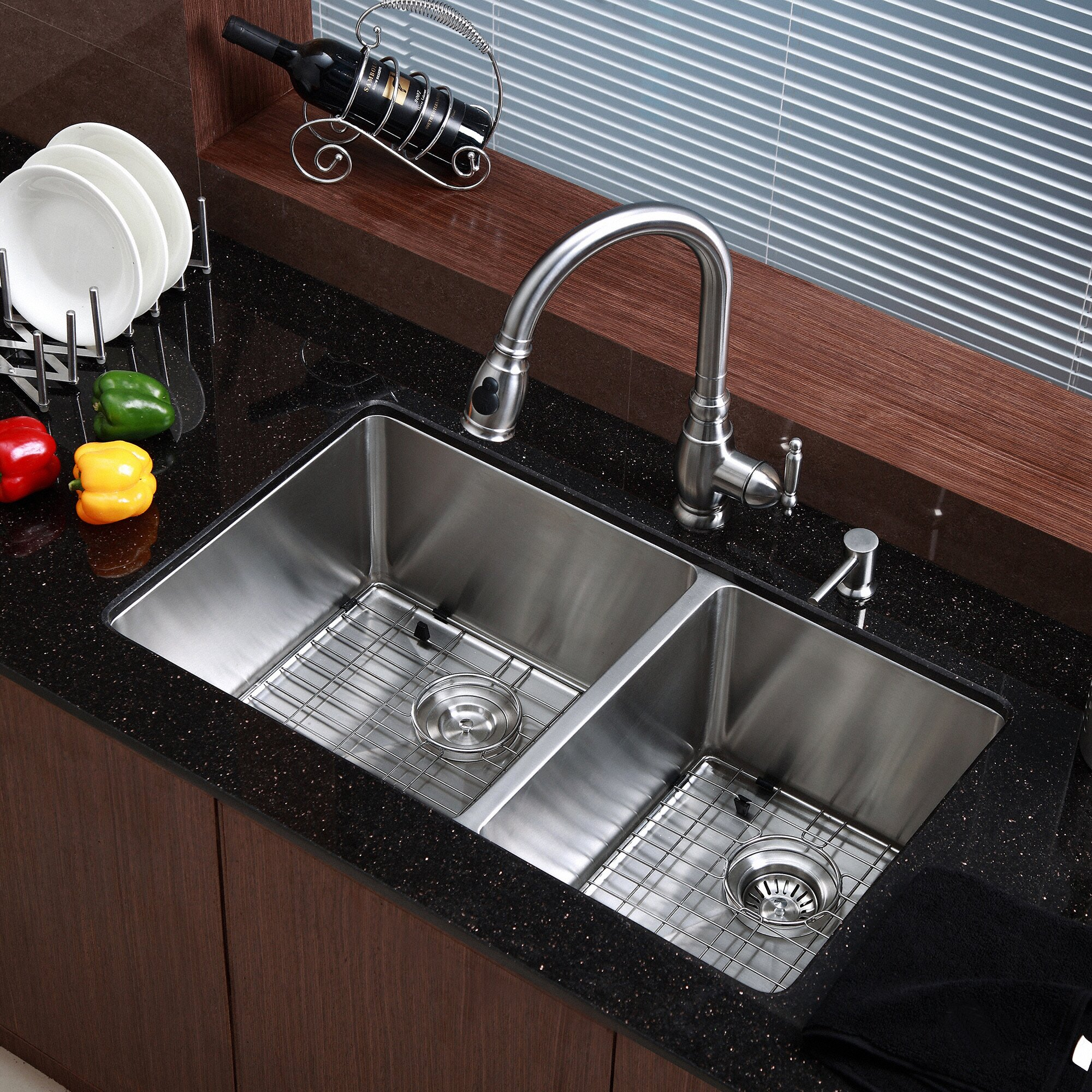 Granite Undermount Kitchen Sinks Kraus Stainless Steel 3275 X 19 Double Bowl Undermount Kitchen