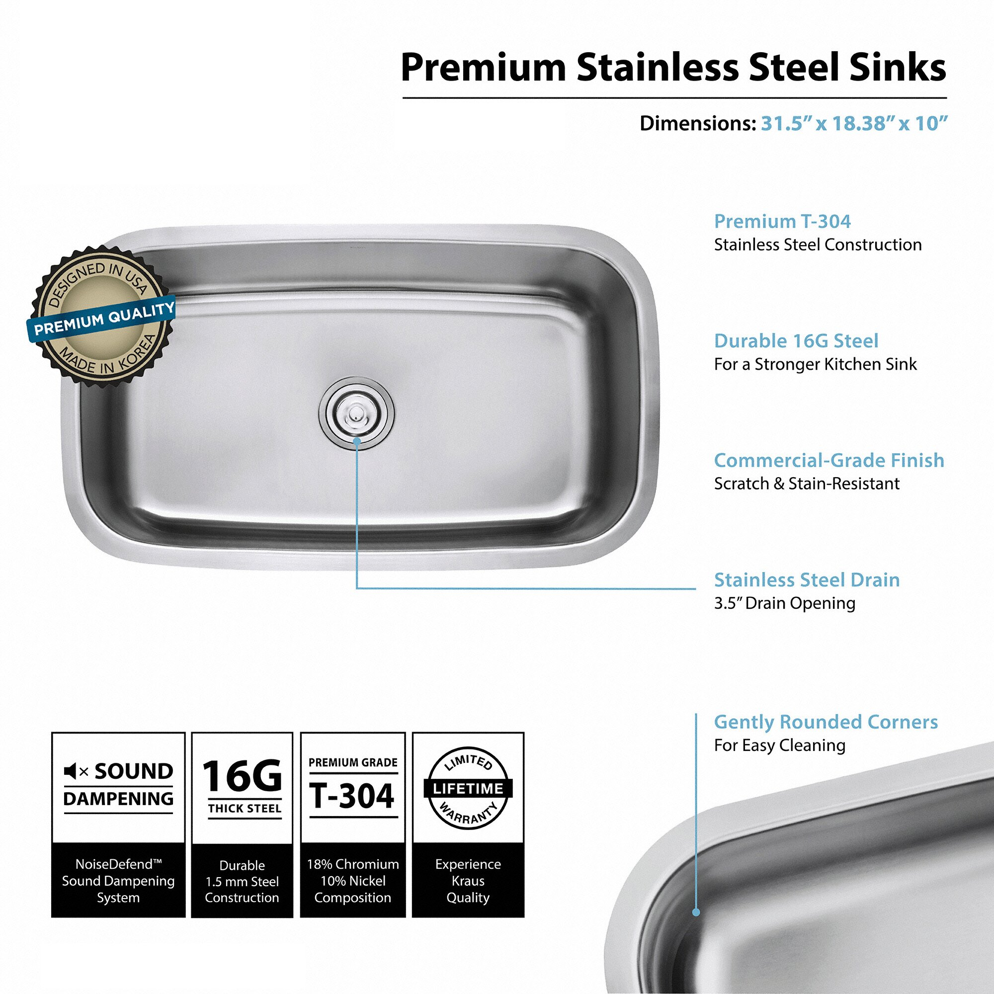 Stainless Steel 16 Gauge Undermount 31.5