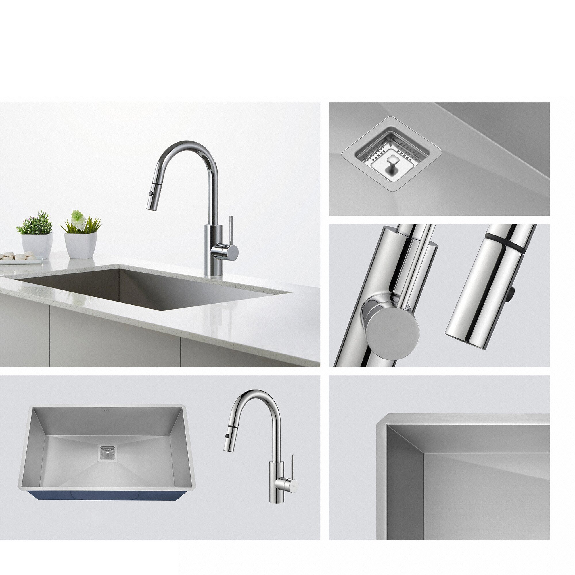 Kraus Oletto Single Handle Pull Out Kitchen Faucet