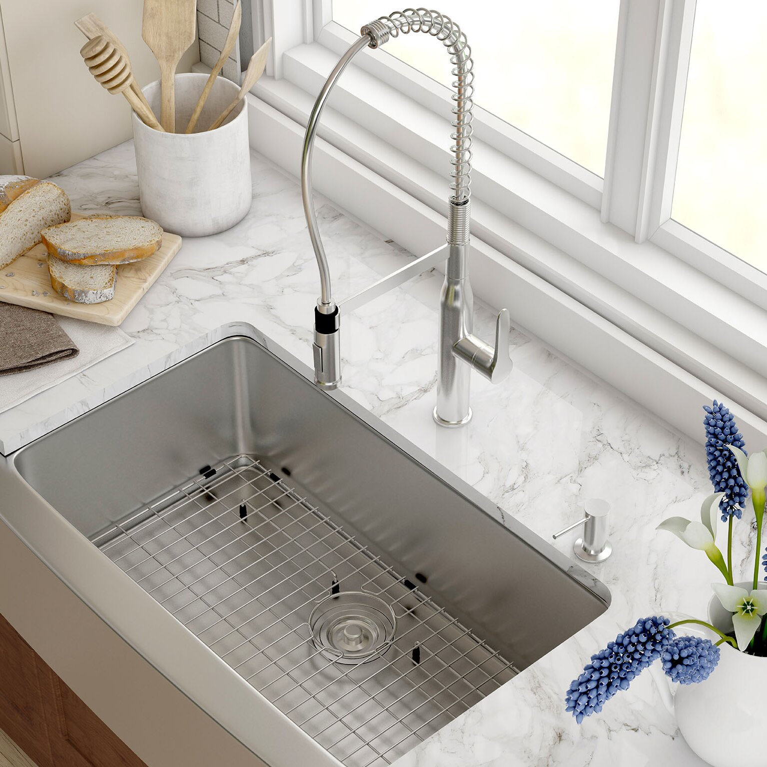 Kitchens With Farmhouse Sinks Kraus Stainless Steel 33 X 2075 Farmhouse Kitchen Sink With