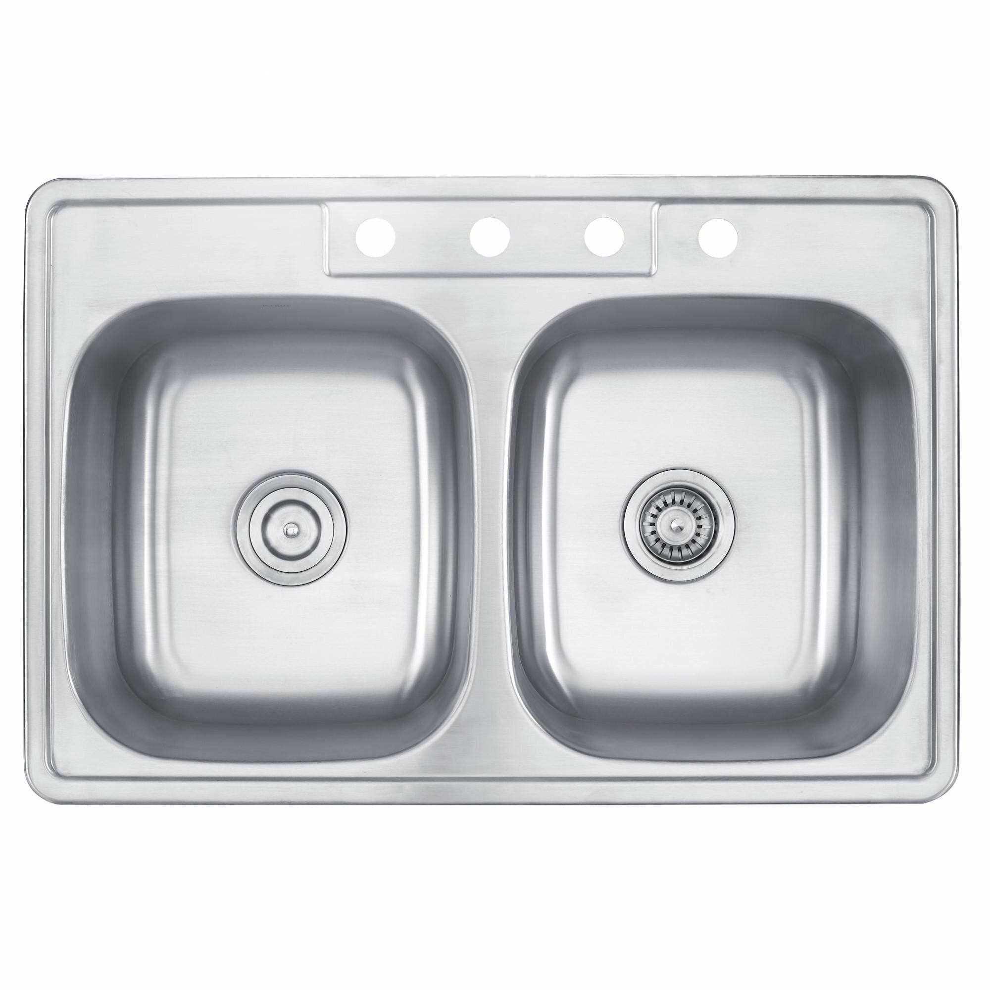 """kraus 33"""" x 22"""" 4 piece topmount 50/50 double bowl kitchen sink"""