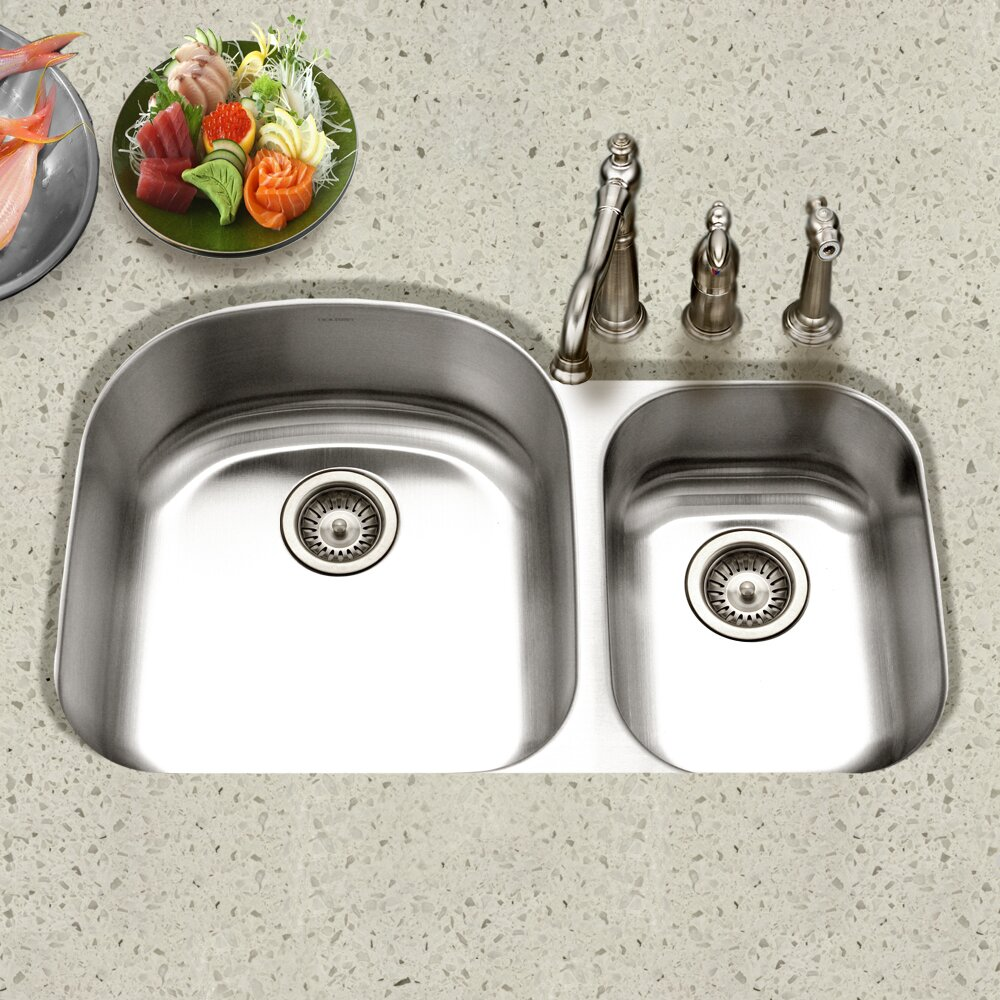 Houzer Eston 32.19 x 20.5 Undermount 70/30 Double Bowl Kitchen  Sink