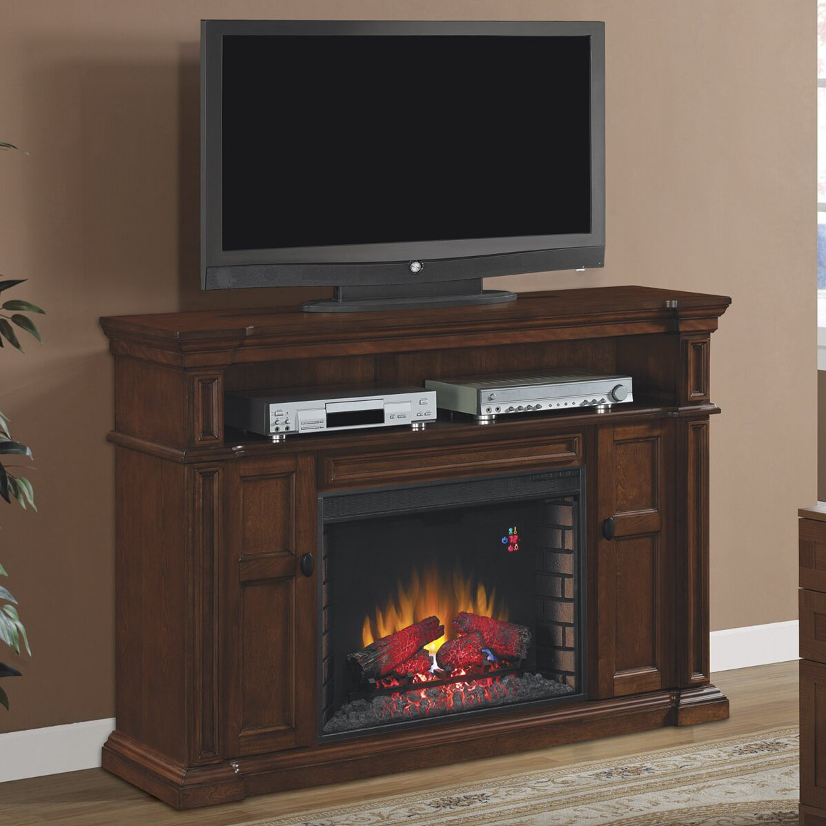 Montgomery 26in electric fireplace and tv stand cherry 26mm2490 c233 - Classic Flame Wyatt Tv Stand With Infared Electric Fireplace