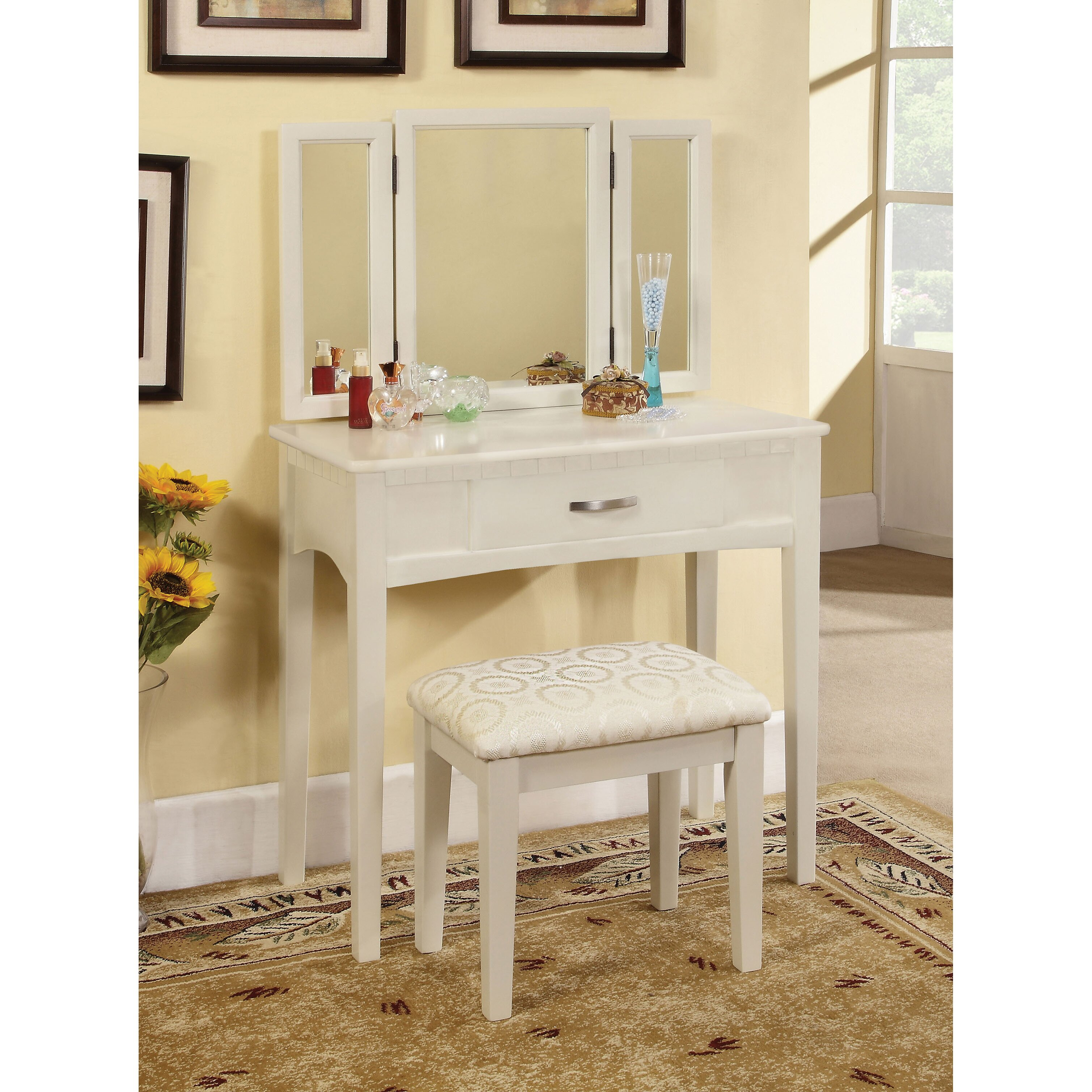 Bedroom  Makeup Vanities Youll Love Wayfair - Mirror on a stand vanity