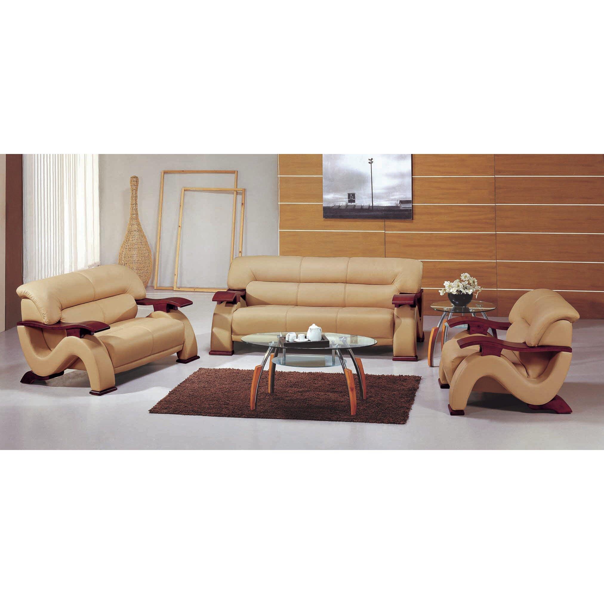 hokku designs chrysocolla 3 piece leather sofa set reviews w