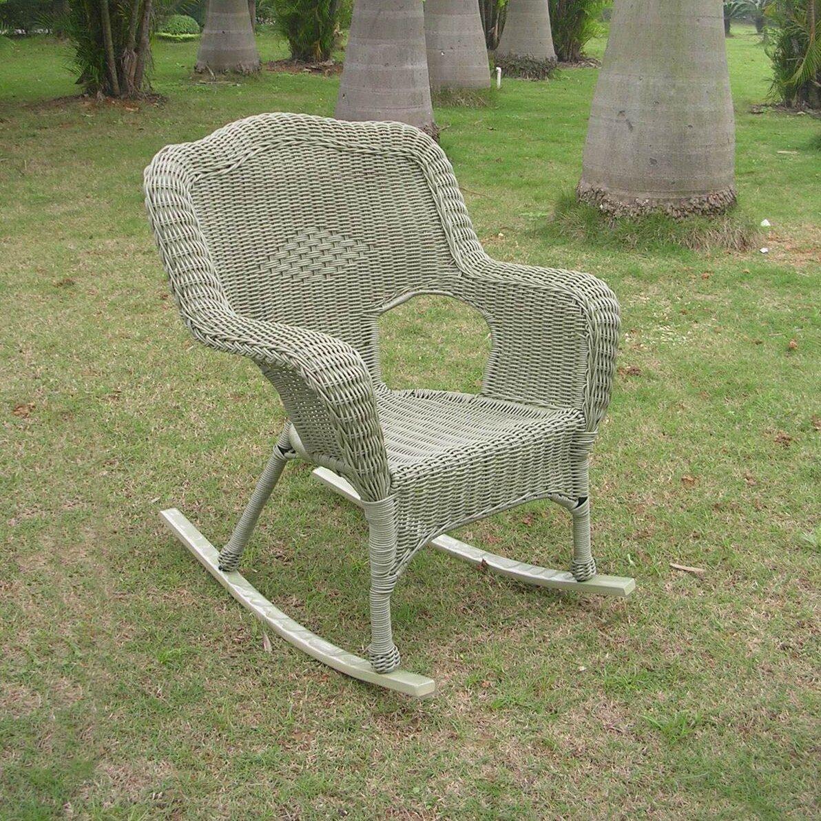 International Caravan Chelsea Outdoor Wicker Resin Patio Rocking Chair &