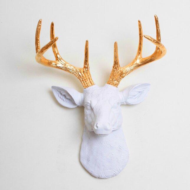 White Faux Taxidermy The Mini Alfred Deer Head Wall Du0026eacute;cor