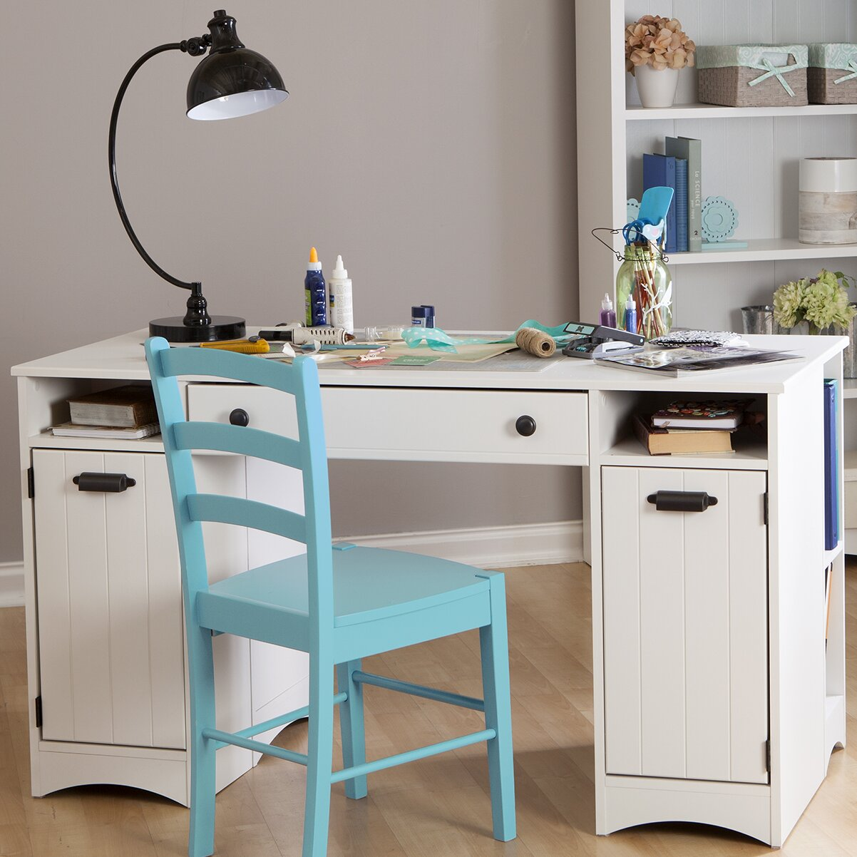 south shore artwork craft table with storage. Black Bedroom Furniture Sets. Home Design Ideas
