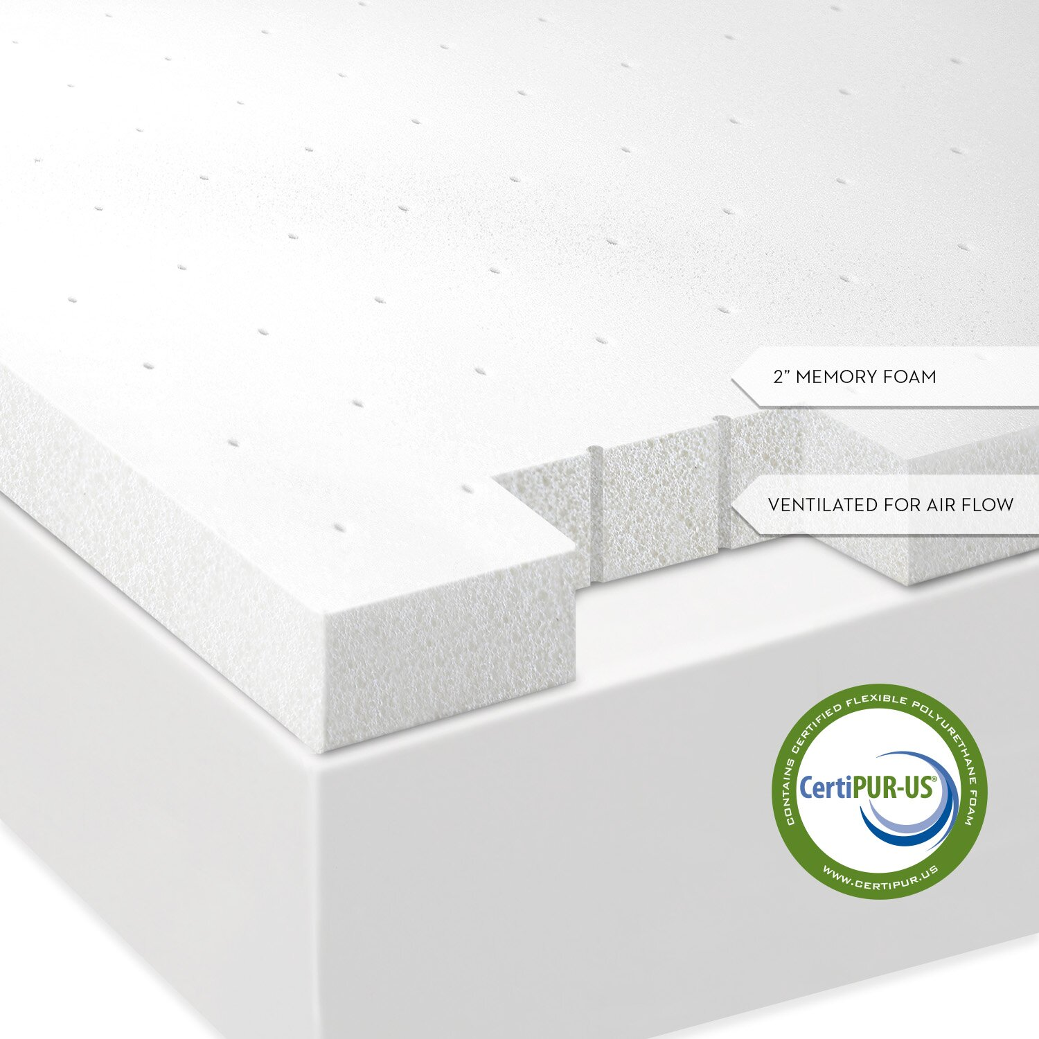 Serta 3 inch memory foam mattress topper - Malouf Ventilated Memory Foam Mattress Topper