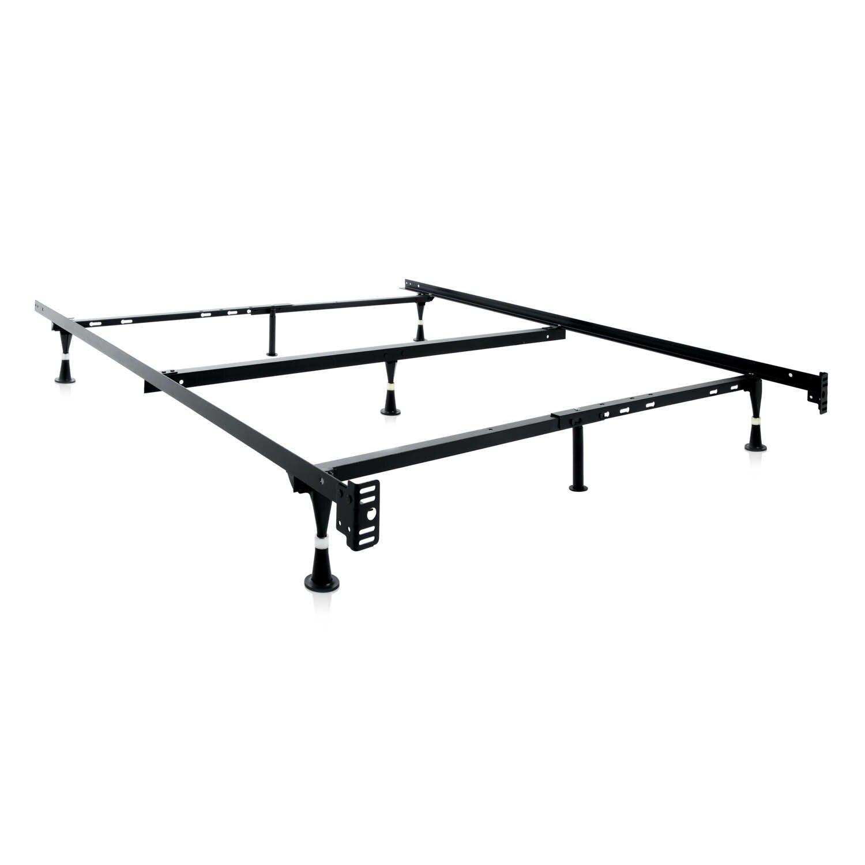 7 leg adjustable metal bed frame with center support glide