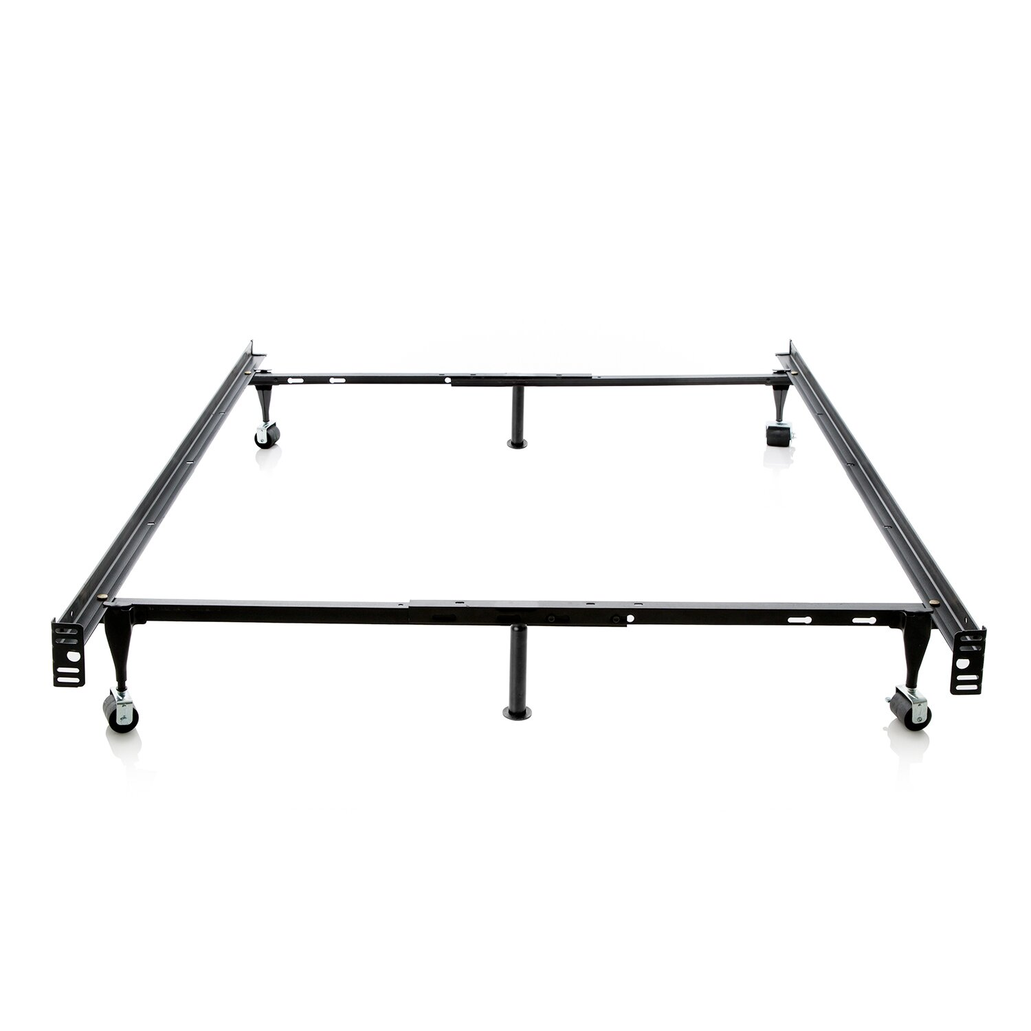 malouf heavy duty 6 leg adjustable metal bed frame with rug roller