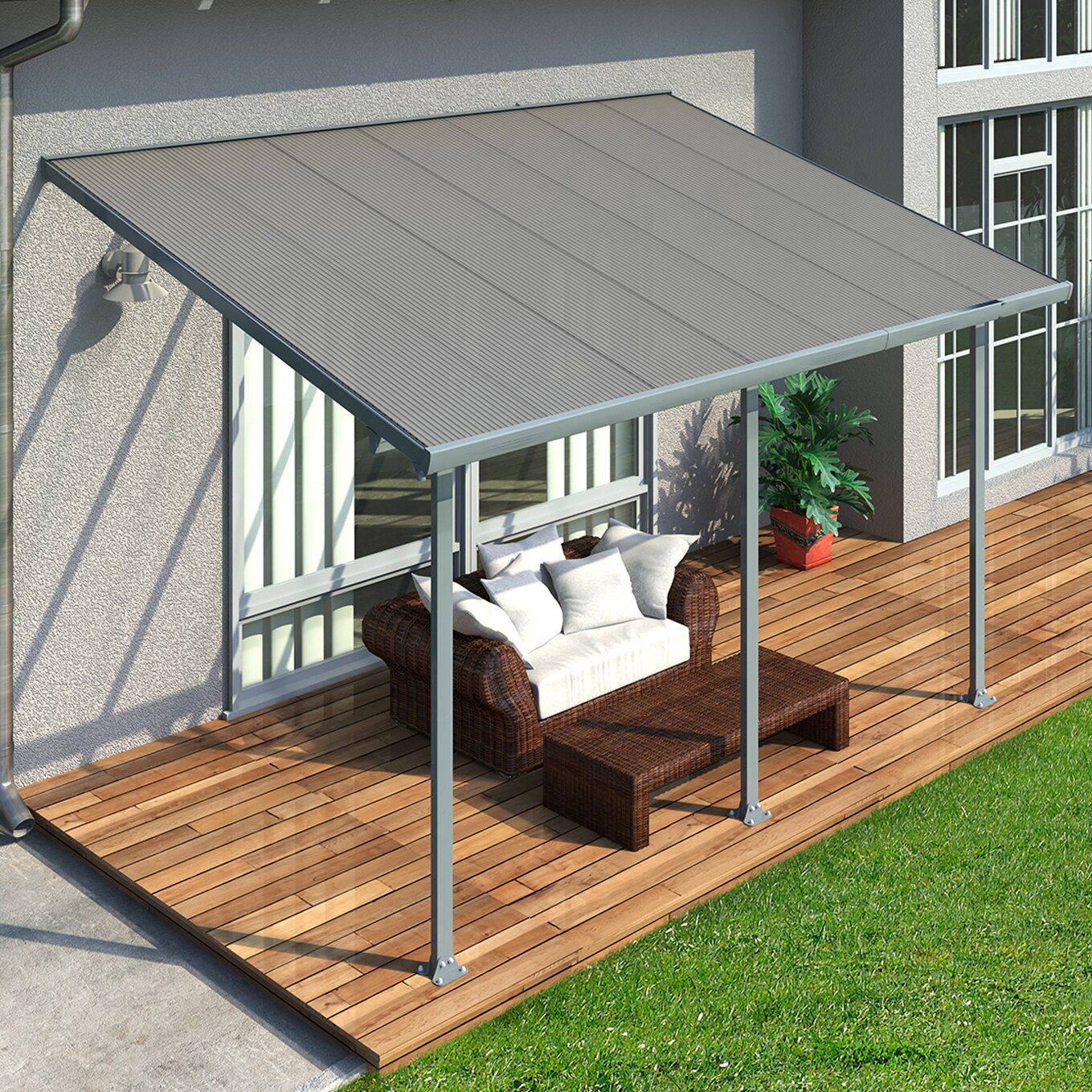 Palram Feria™ 10 ft. H x 14 ft. W x 10 ft. - Palram Feria™ 10 Ft. H X 14 Ft. W X 10 Ft. D Patio Cover Awning