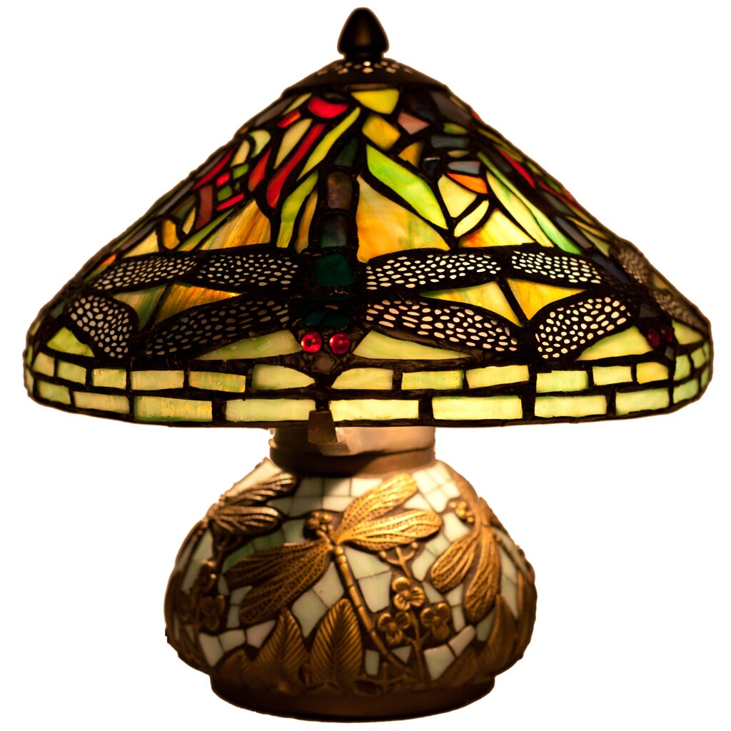 River of Goods Dragonfly Tiffany Style Stained Glass 10 Table – Dragonfly Desk Lamp