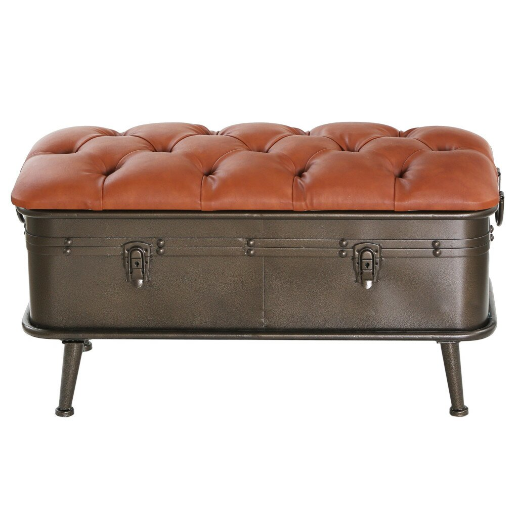 Tufted Foyer Bench : River of goods tufted faux leather and distressed metal