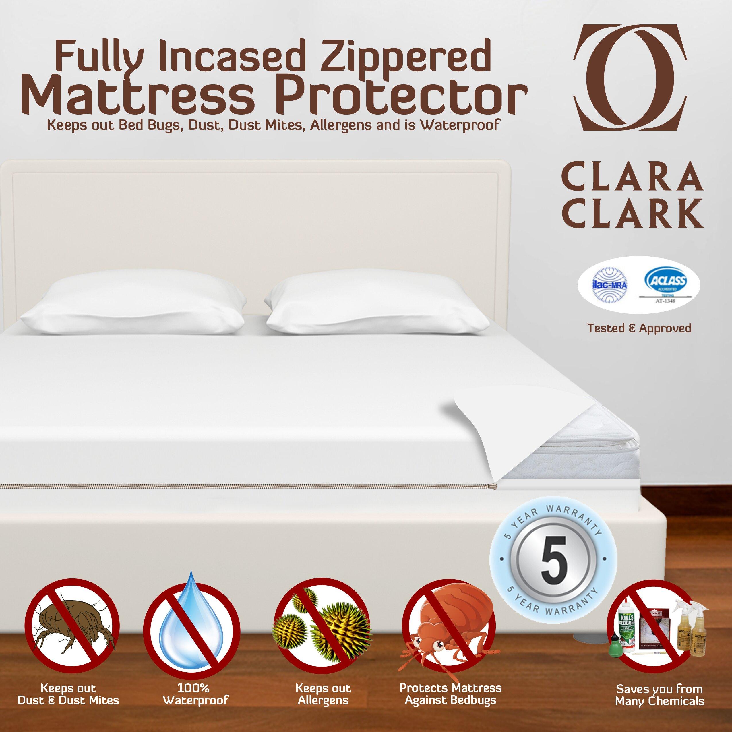 Clara clark bed bug proof encasement premium for Bed bug proof mattress pad