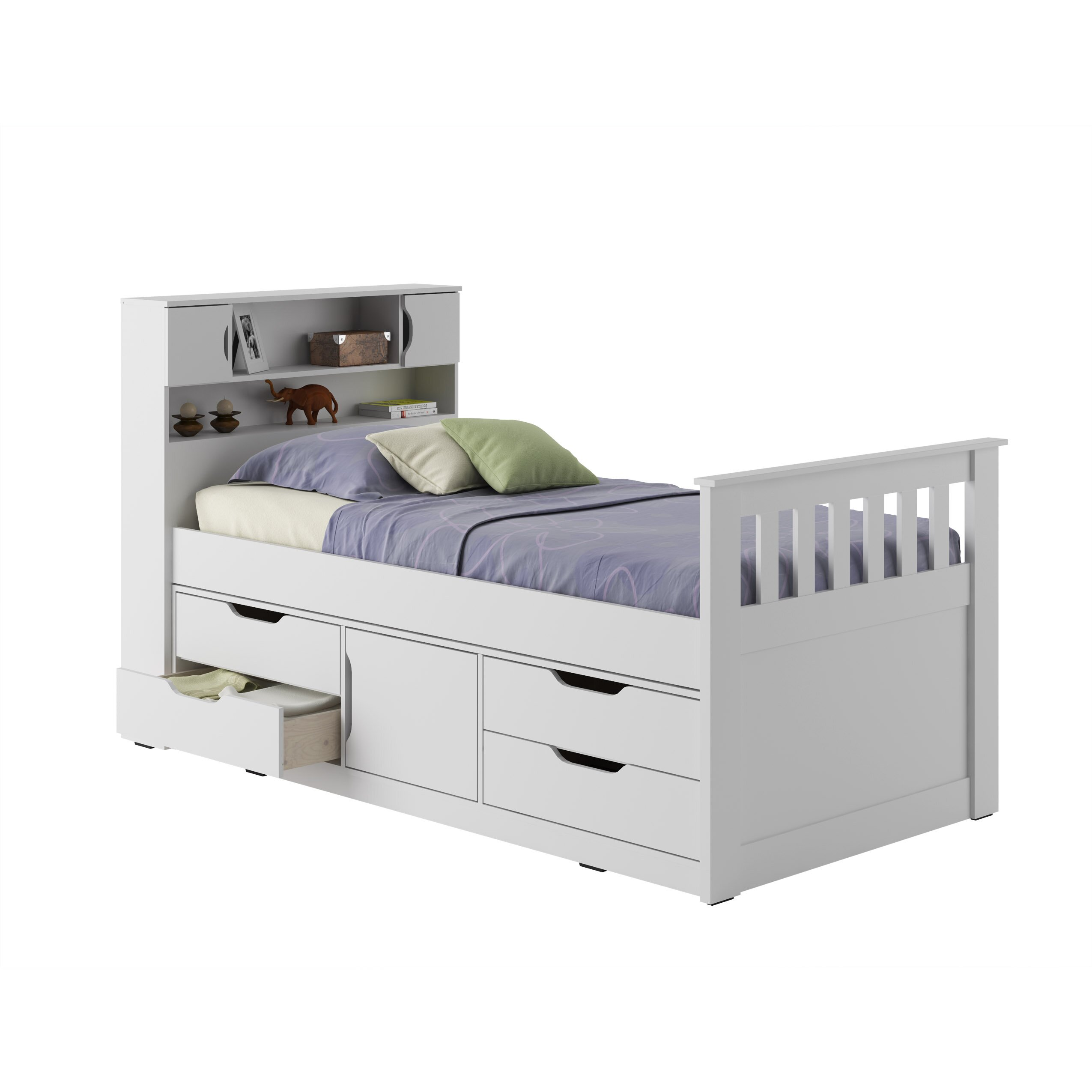 Full size white captains bed with storage -  White Finish Full Size Captains Bed With Storage Drawers 7075 Breakwater Bay Simmons Casegoods Charthouse Twin Captain Bed With