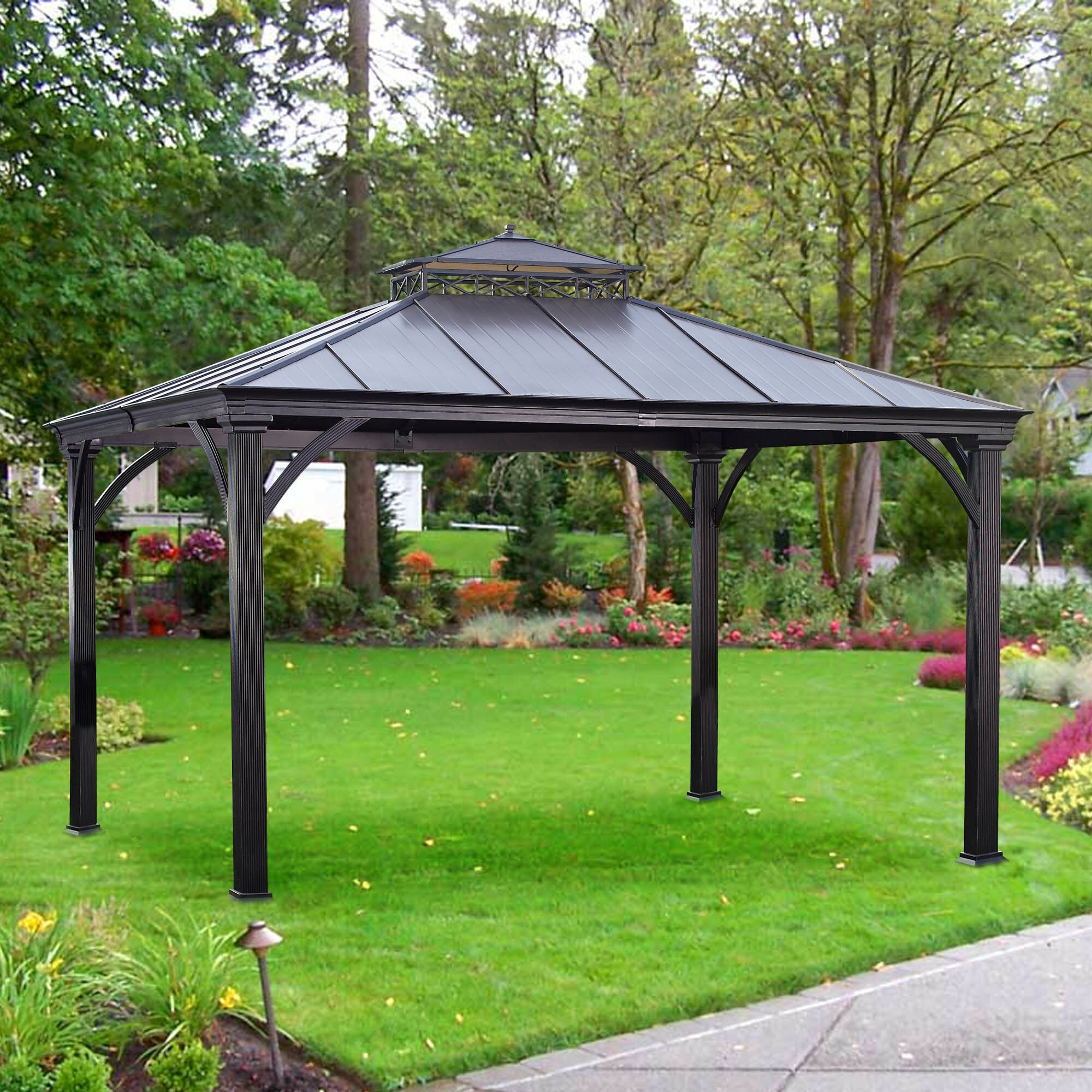 Sunjoy Marta 10 Ft W X 12 Ft D Metal Permanent Gazebo