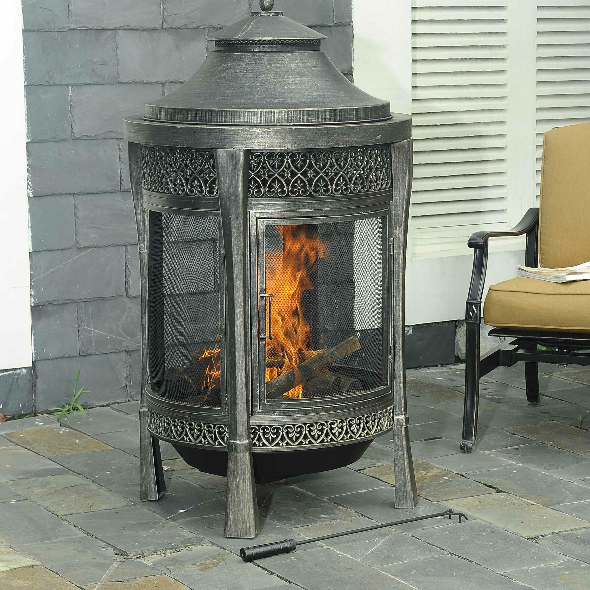 sunjoy outdoor fireplace outdoor 48 in steel fireplace outdoor