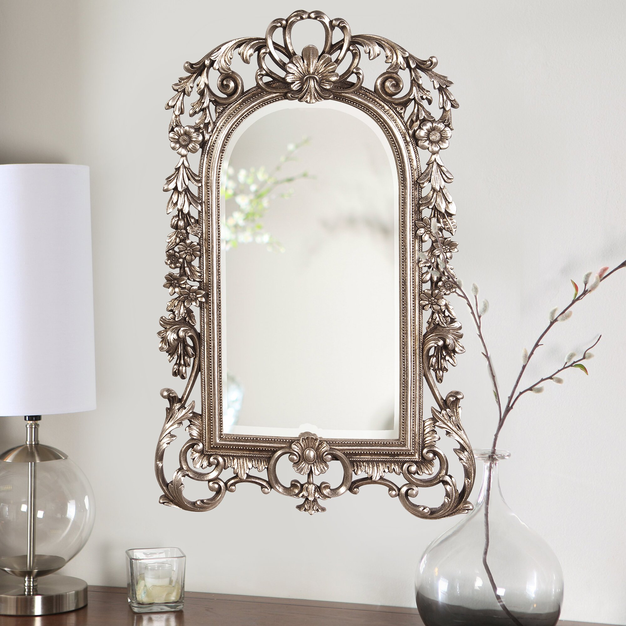 Astoria Grand Arch Crowned Top Antique Silver Wall Mirror