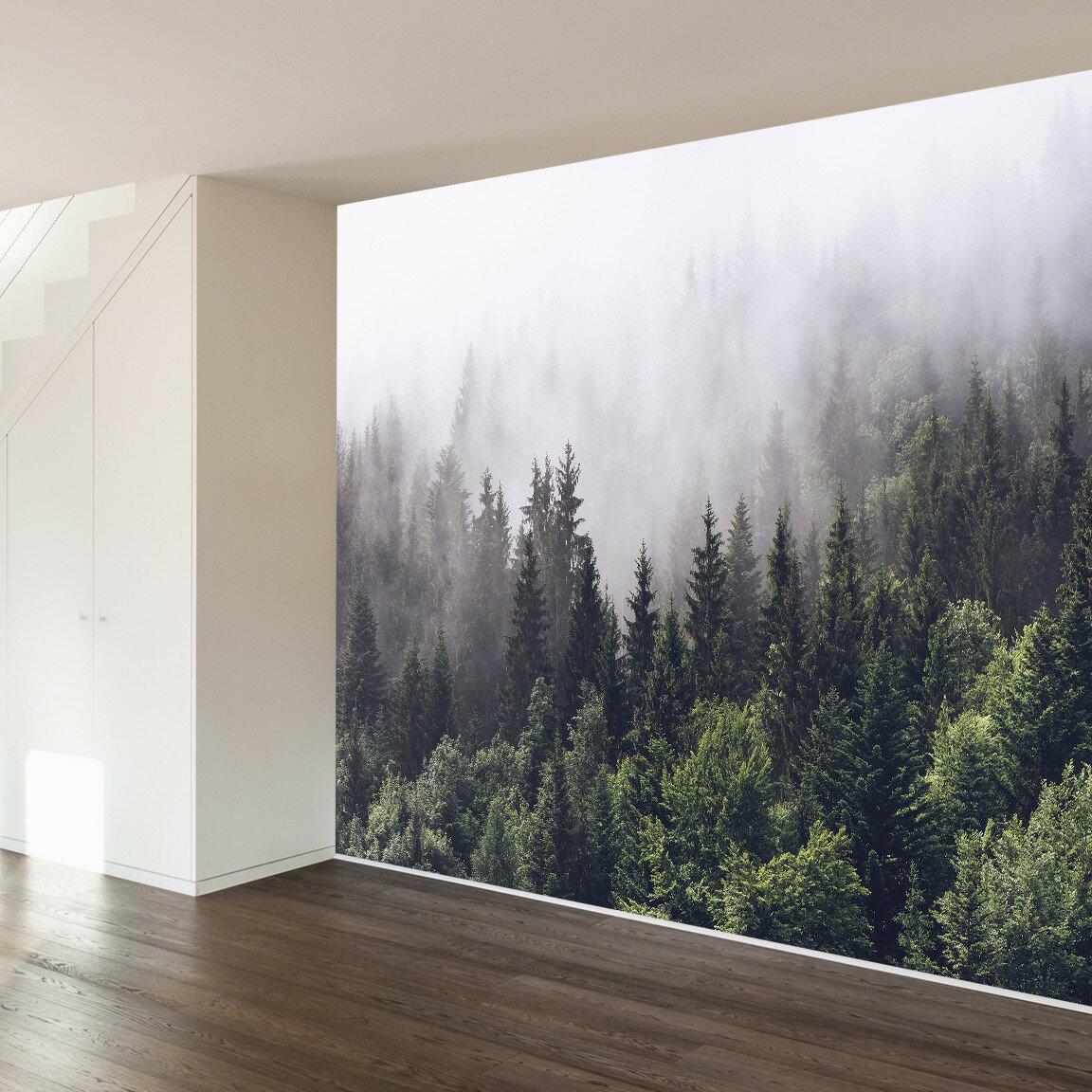 walls need love misty forest wall mural reviews wayfair
