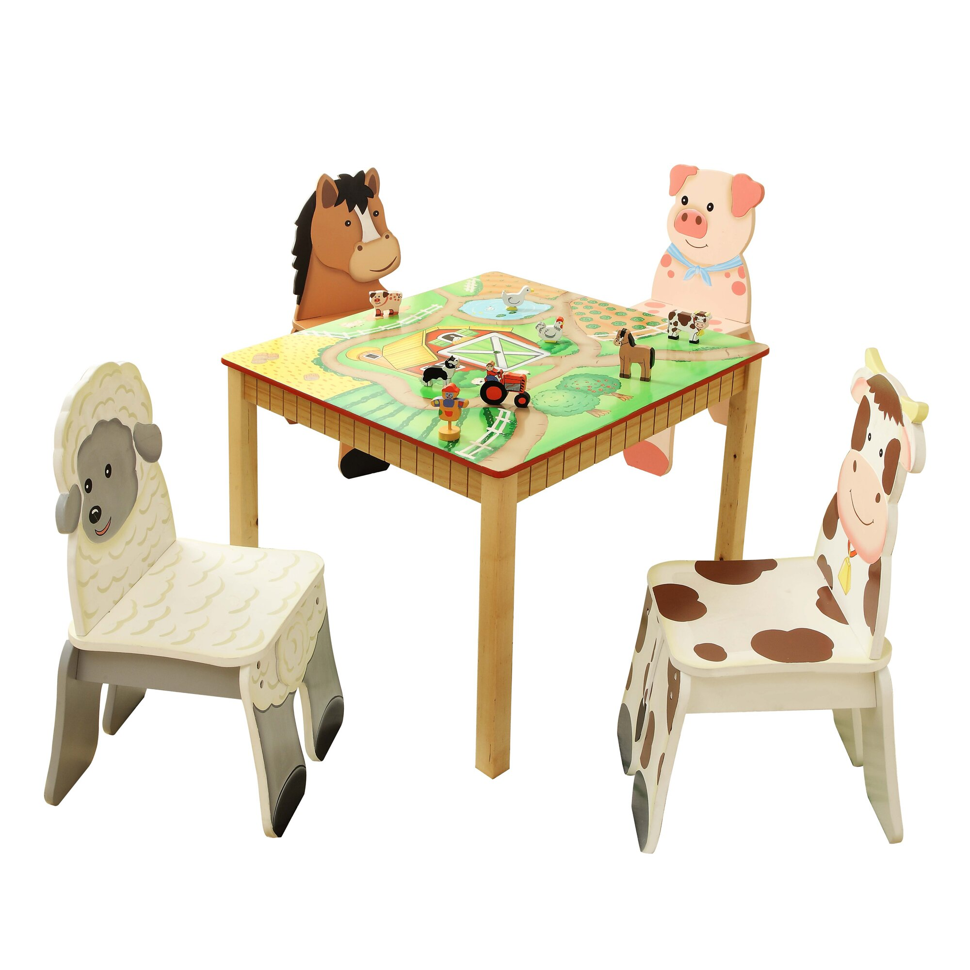 Table Set For Kids Fantasy Fields Happy Farm Kids 5 Piece Table And Chair Set
