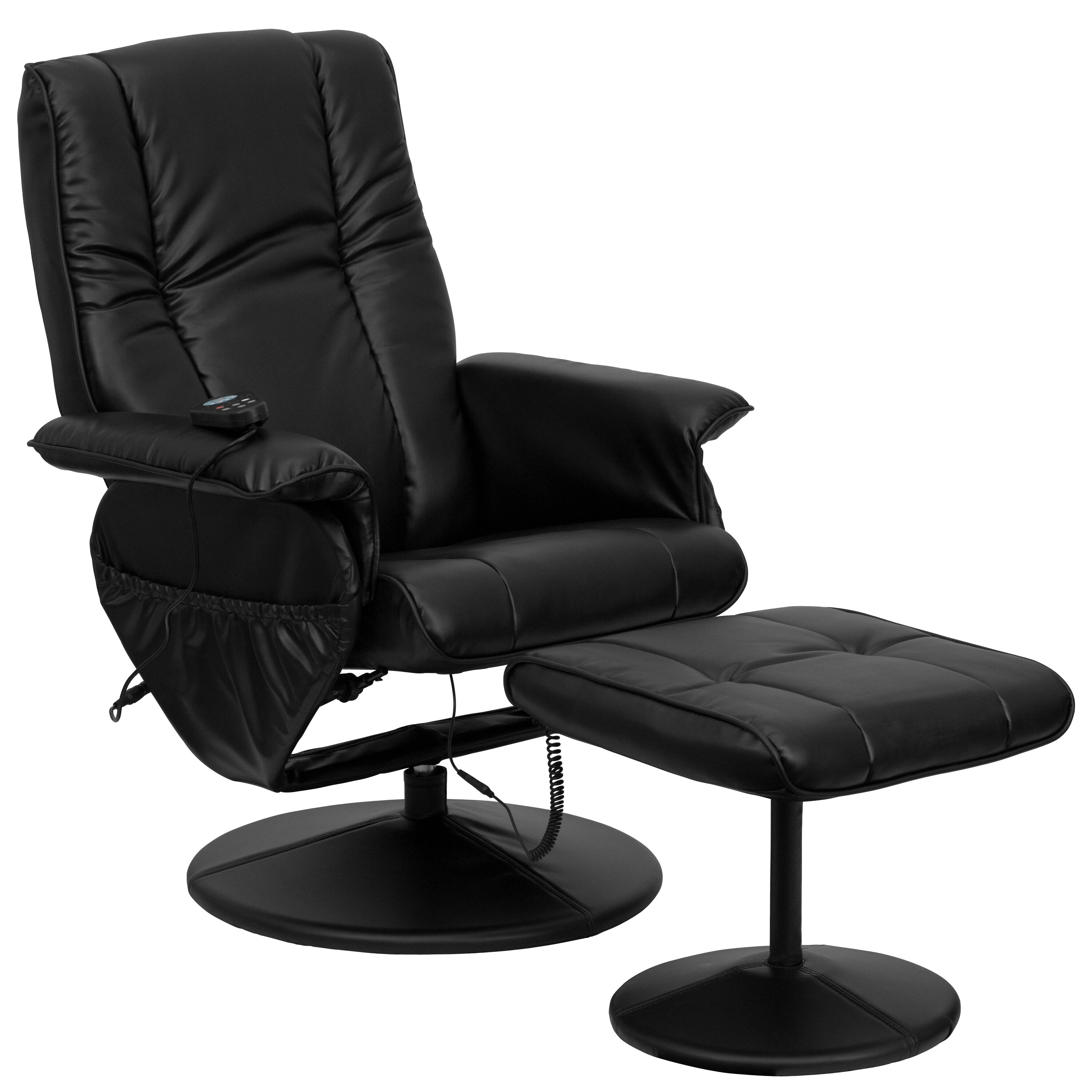 Zipcode Design Leather Heated Reclining Massage Chair With Ottoman Rev