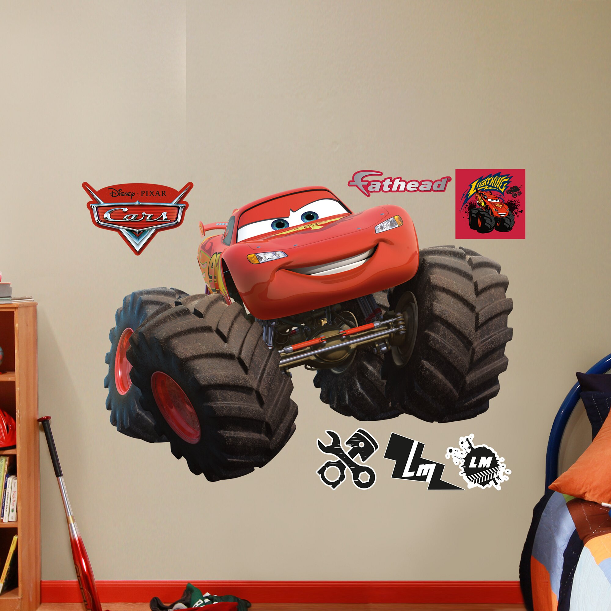 Fathead RealBig Disney Cars Monster Trucks Lightning McQueen Wall Decal