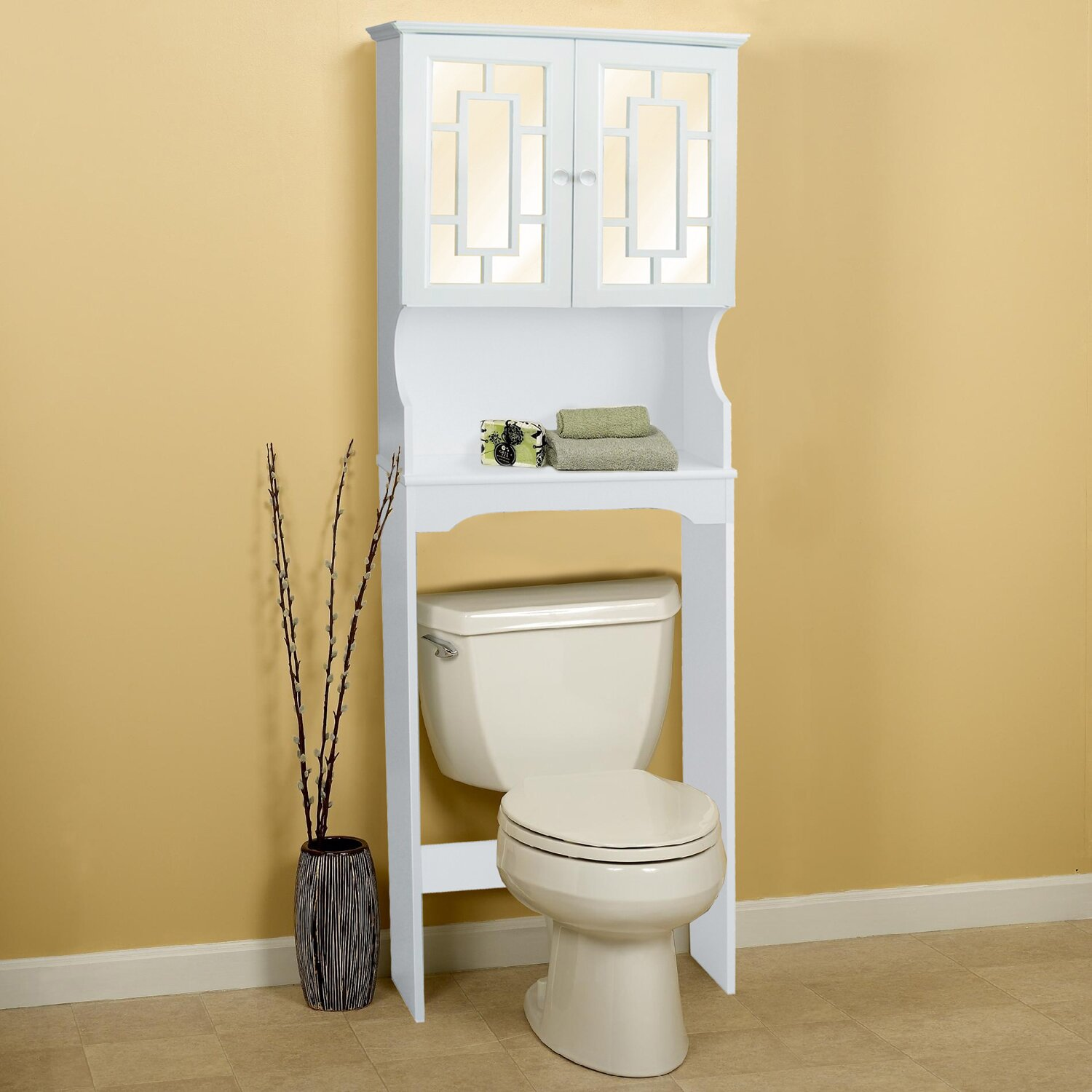 Over Toilet Storage Cabinet Hazelwood Home 24 W X 68 H Over The Toilet Storage Reviews