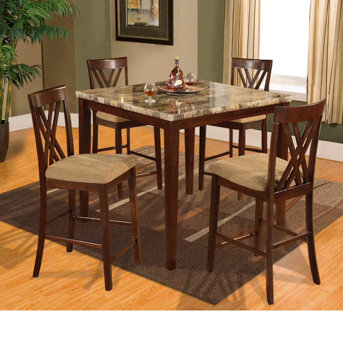 Whitley Cappuccino 5 Piece Dinette Set: Hazelwood Home Counter Height 5 Piece Dinette Set