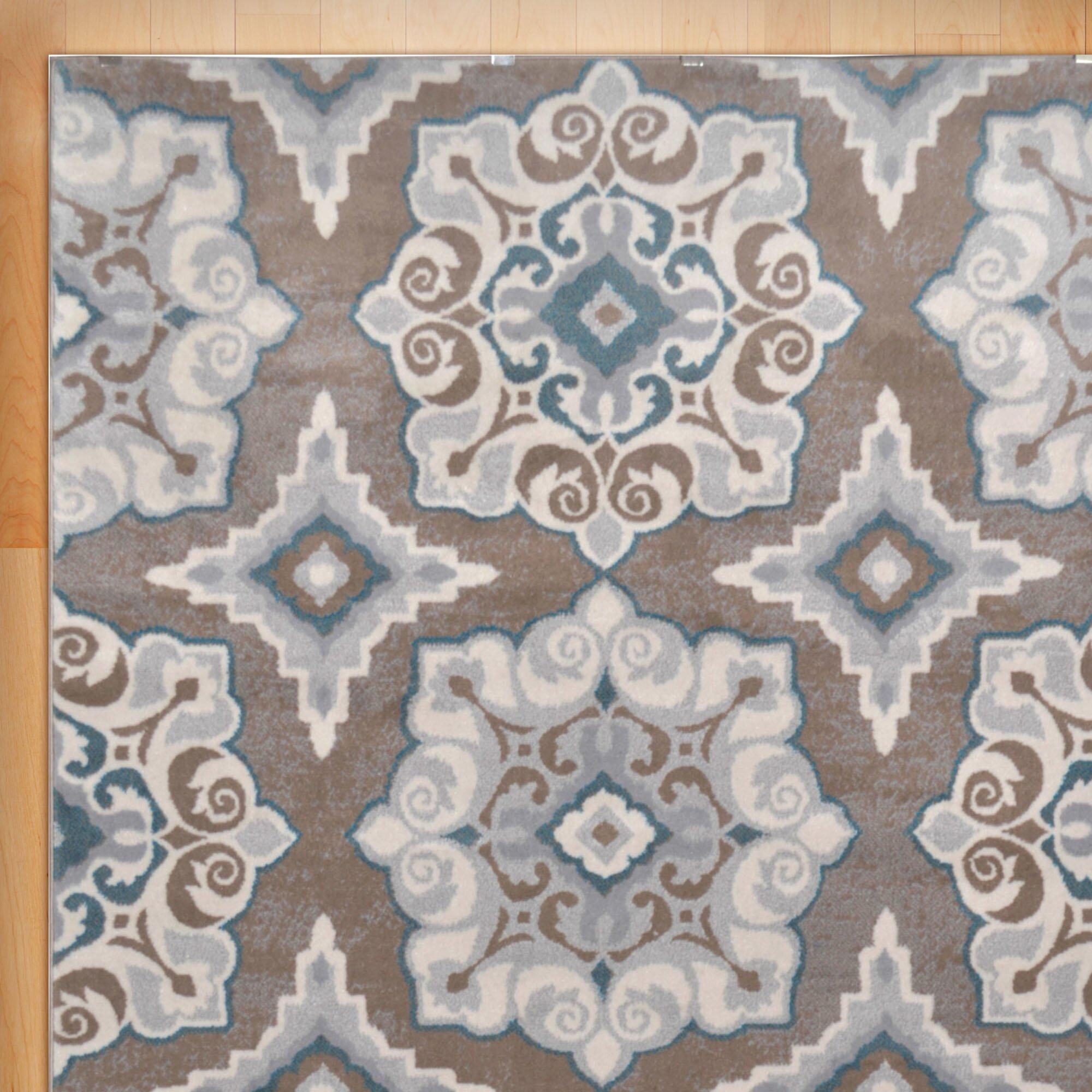 Andover Mills Natural Cerulean Blue/Tan Area Rug & Reviews