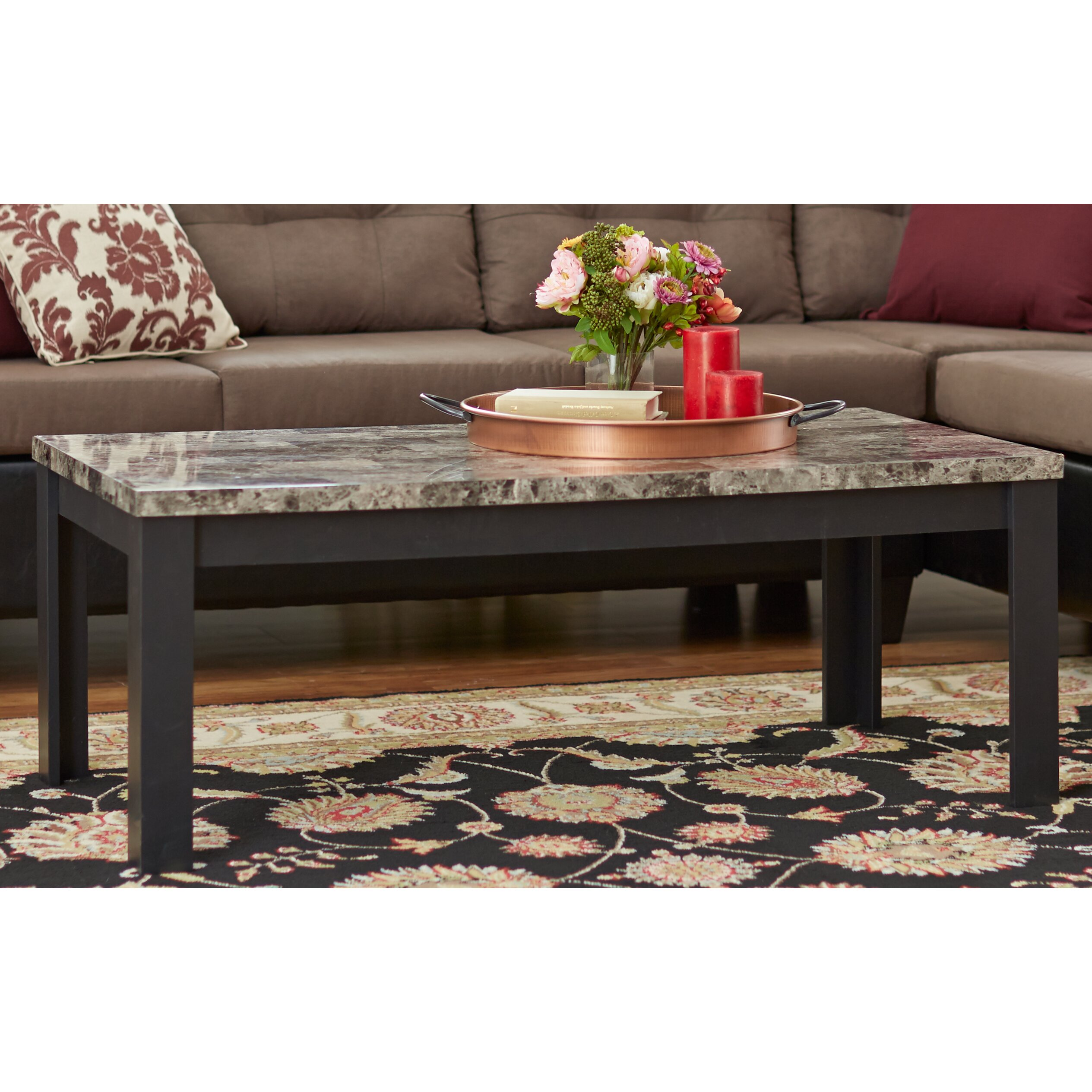 Coffee Table Set Of 3 Andover Mills Cecil Marble Top 3 Piece Coffee Table Set Reviews