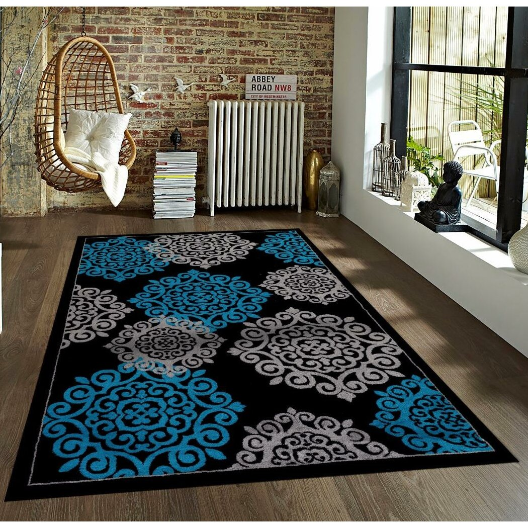 Andover Mills Silsden Turquoise/Black Indoor/Outdoor Area