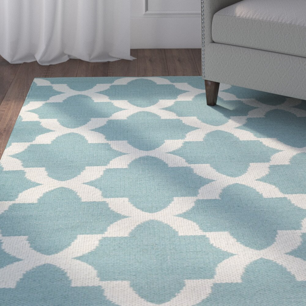 Andover Mills Campus Hand Tufted Teal White Indoor Outdoor