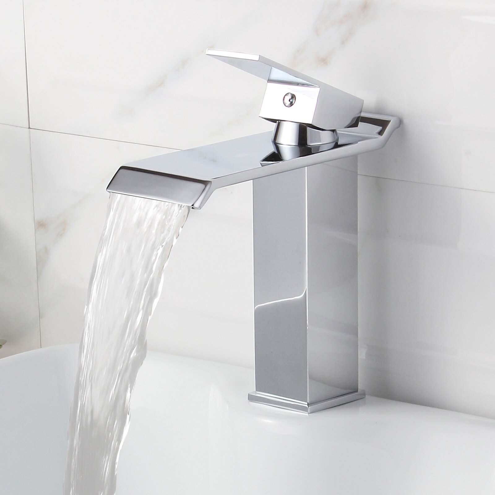 Elite single handle bathroom waterfall faucet reviews wayfair for Waterfall faucets for bathroom