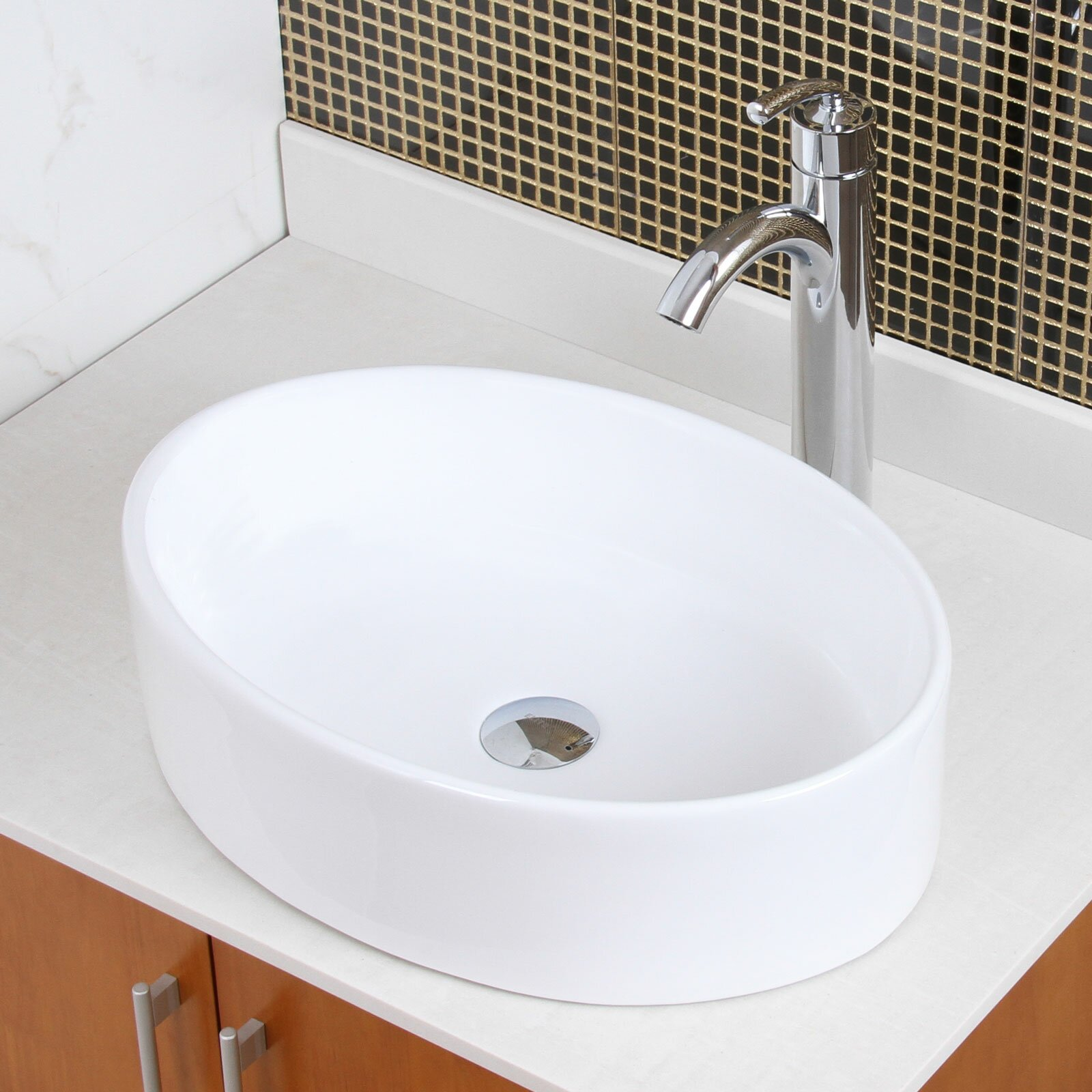 Elite Bathroom Sinks : Elite Ceramic Elliptical Bathroom Sink & Reviews Wayfair Supply