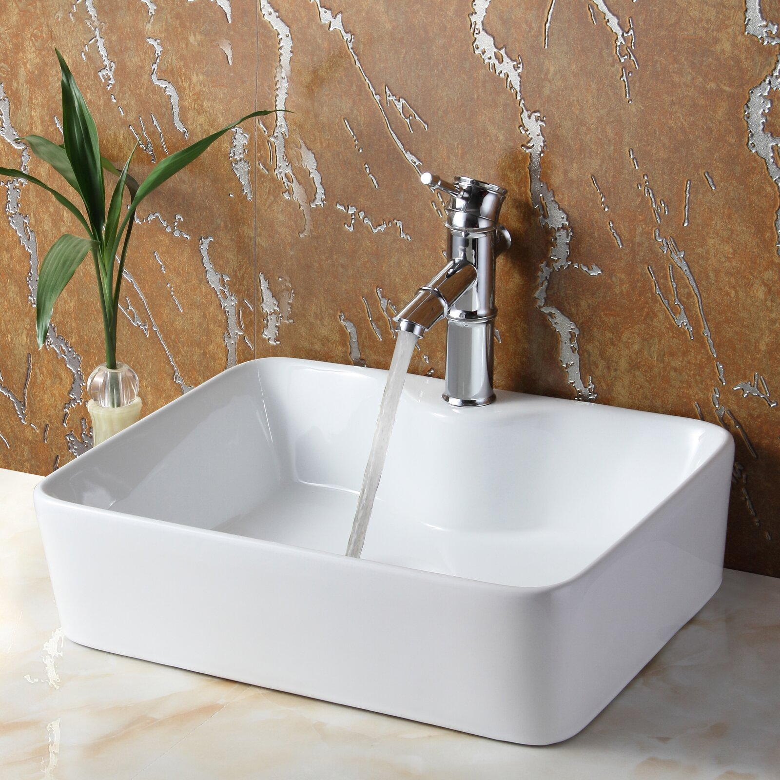 Elite Ceramic Rectangular Vessel Bathroom Sink