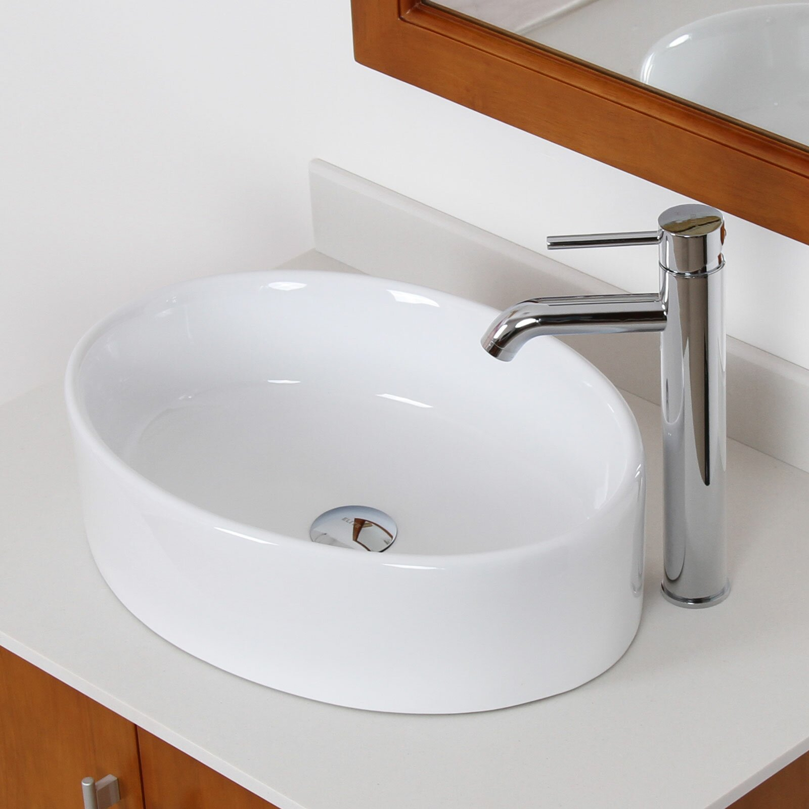 Bathroom Sink Material Elite Ceramic Elliptical Bathroom Sink Reviews Wayfair