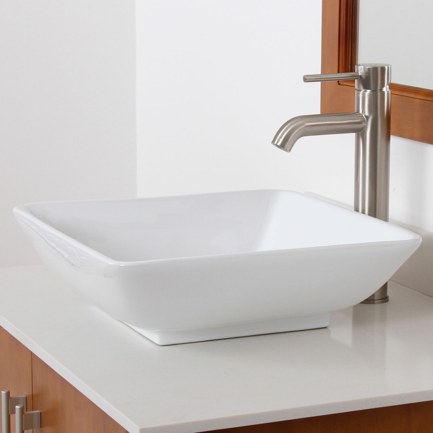 Square bathroom sinks - Elite Ceramic Square Bathroom Sink
