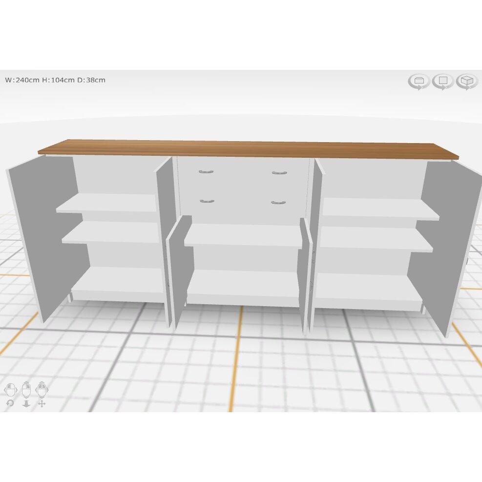 Dcor design regal 6 door 2 drawer sideboard for Sideboard regal