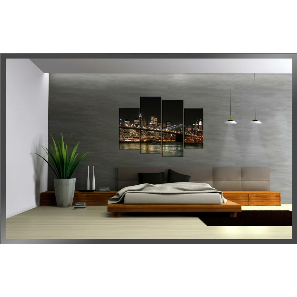 Urban designs new york 4 piece photographic print wrapped for Decoration murale wayfair
