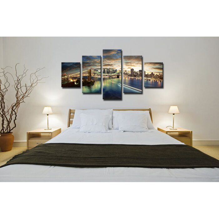 urban designs 5 tlg leinwandbilder set new york skyline fotodruck bewertungen. Black Bedroom Furniture Sets. Home Design Ideas