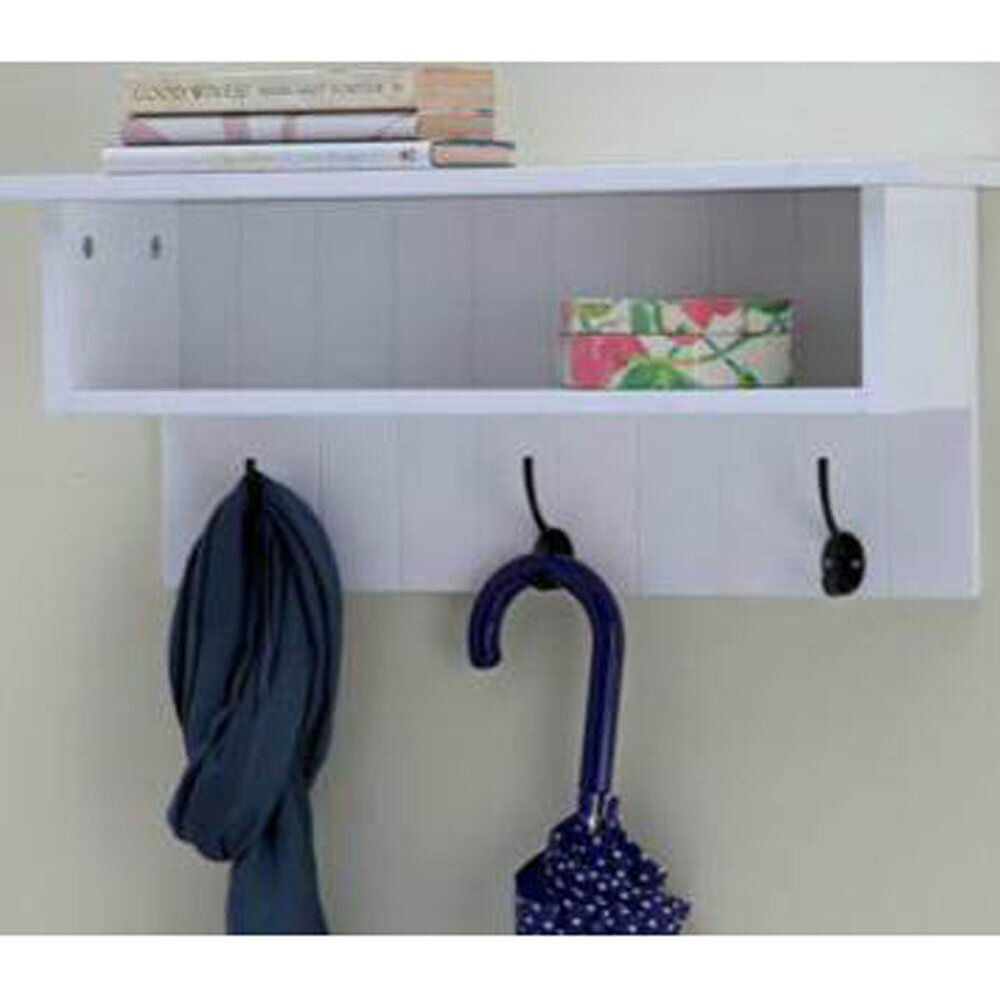 Castleton Home Wall Mounted Hall Rack With Storage And 3 Coat ... Coat Hooks With Storage