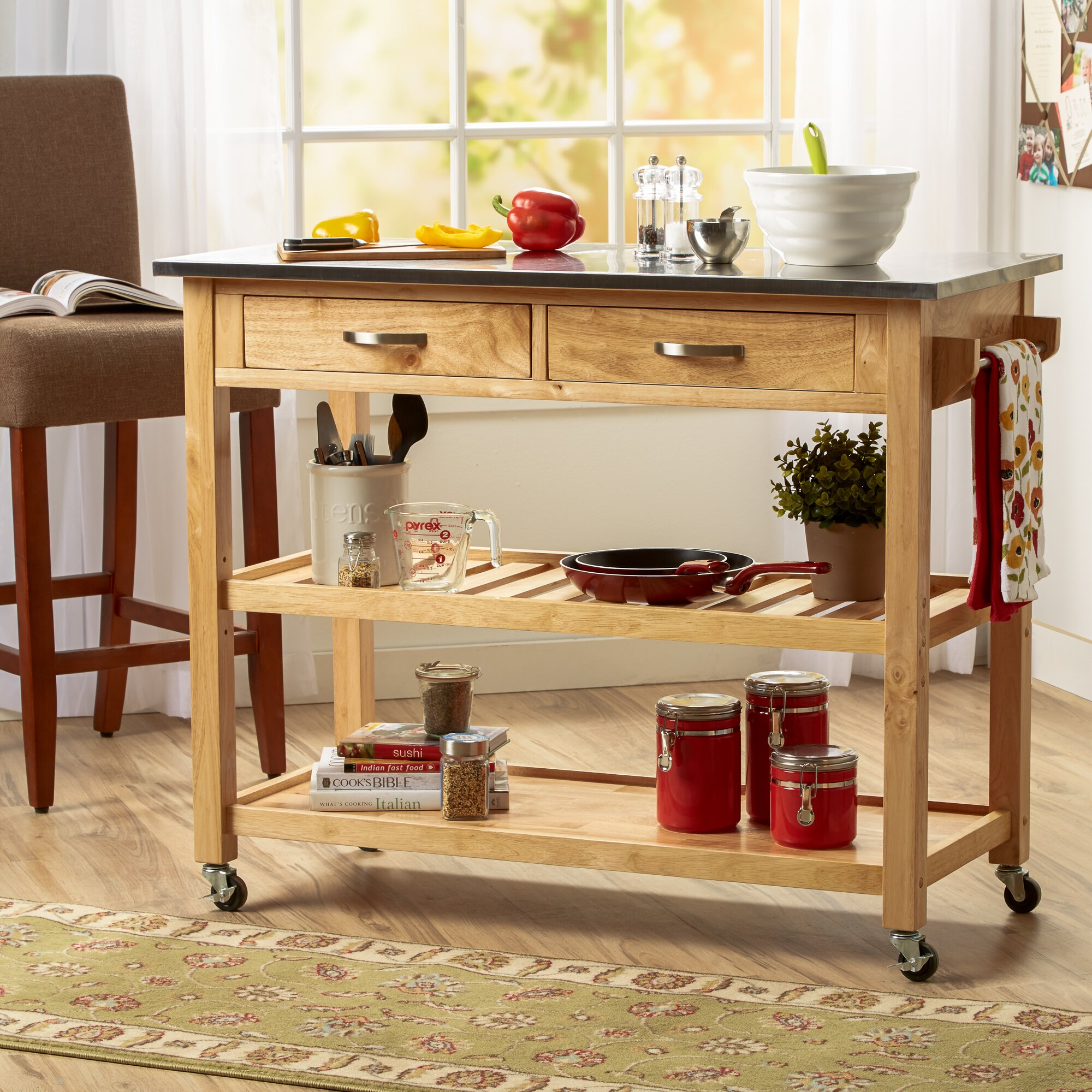 Three Posts Byrnedale Kitchen Island With Stainless Steel