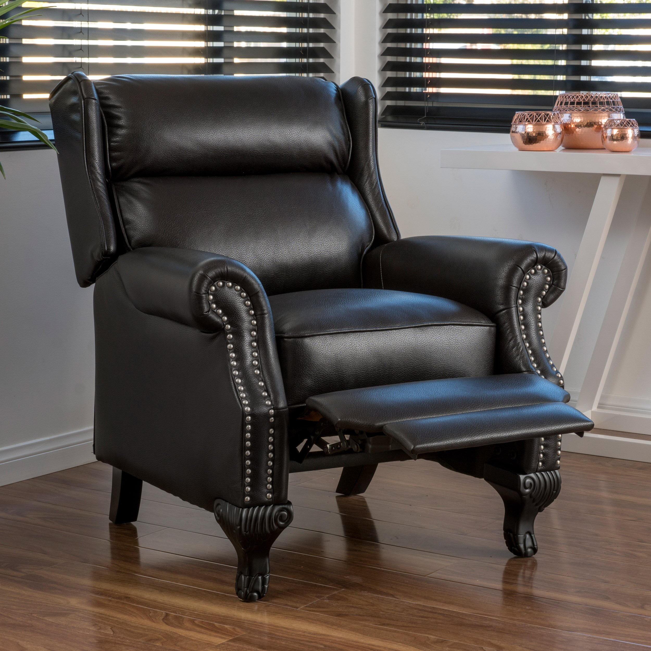 posts fremont push back pu leather recliner reviews