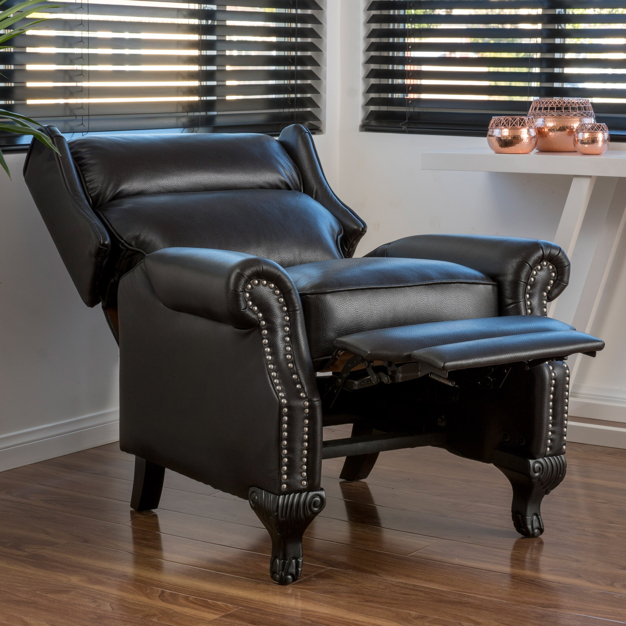 three posts fremont push back pu leather recliner reviews wayfair