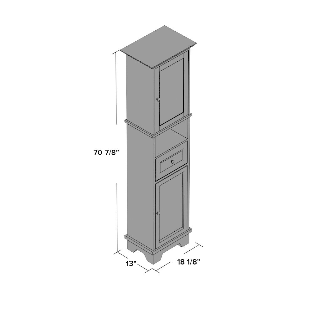 Winsome Alps Tall Cabinet With Glass Door And Drawer - Fordesign